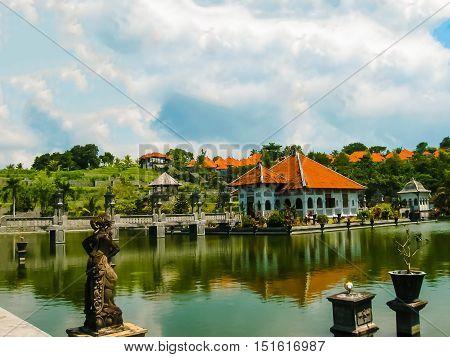 Bali, Indonesia - April 15, 2012: Water Palace Taman Ujung in Bali Island Indonesia