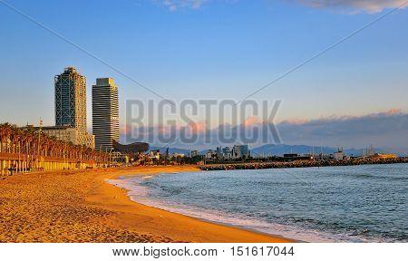 Empty beach of Barcelona on the daybreak Spain