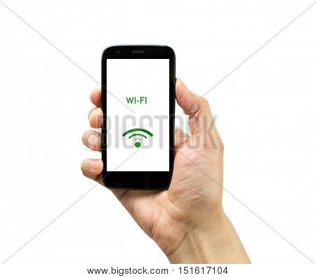 Hand holding mobile smart phone with connect wifi on white background