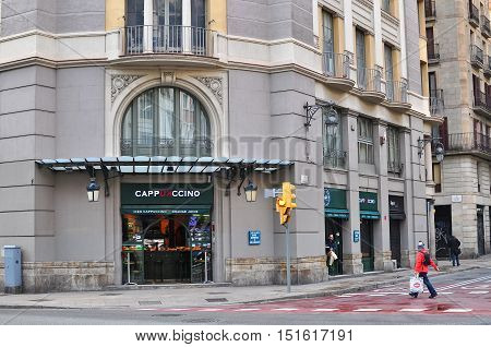 BARCELONA - DECEMBER 26: View of the street in downtown of Barcelona on December 26 2014. Barcelona is the secord largest city of Spain.