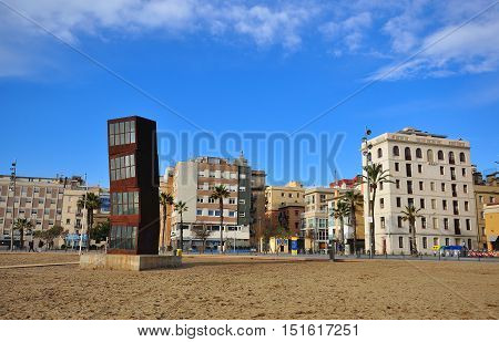 BARCELONA - JANUARY 21: Barceloneta district and the beach of Barcelona city on January 21 2015. Barcelona is the capital city of Catalonia Spain.