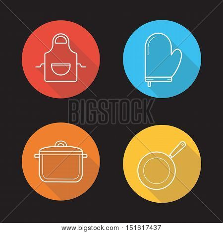 Kitchen tools flat linear long shadow icons set. Apron, oven mitt, saucepan with lid, frying pan. Kitchenware. Vector line symbols