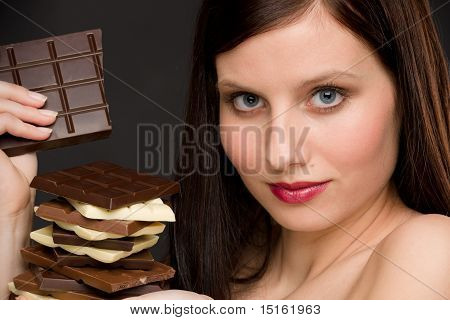 Chocolate - Portrait Healthy Woman Enjoy Sweets