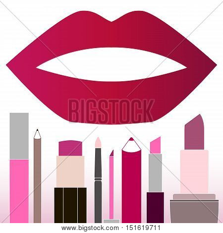 Flat multicolored lipsticks. Female make-up. Lipstick cosmetics and open mouth. Lipstick design elements. Lipstick object Woman cute pink lipstick Isolated vector illustration