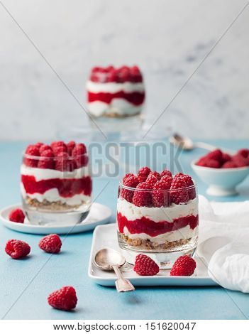 Raspberry dessert, cheesecake, trifle, mouse in a glass on blue stone background