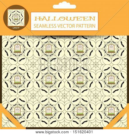 Halloween vector seamless light pattern with spiderweb bats and grave in package with shadow.