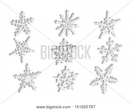 vector - set of snowflakes 3D isolated on background