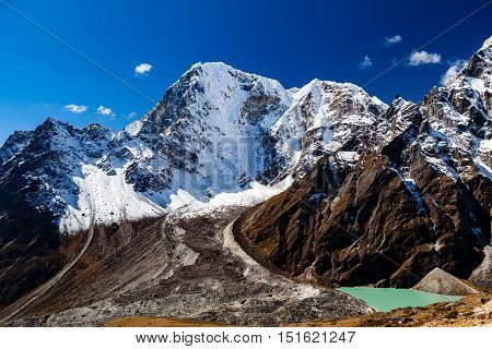 Himalaya Inspirational Landscape Glacier Lake and Mountain Peaks in Nepal. Beautiful View on Mountain Peaks in Himalayas over Blue Sky. Everest National Park in High Mountains Gokyo Region.