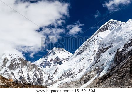 Himalaya Beautiful Mountain Peaks Inspirational Autumn Landscape and Khumbu Glacier on the way to Everest Base Camp in Everest National Park Nepal.
