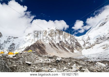 Mount Everest Base Camp Inspirational Landscape in Himalaya Mountains in Nepal at 5350m on Khumbu Glacier with Tents Camping Site Expedition. Beautiful Inspiring Landscape with Rocks and Stones.