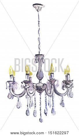watercolor sketch of chandelier on white background