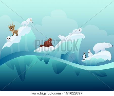 Arctic winter landscape with animals. Vector illustration