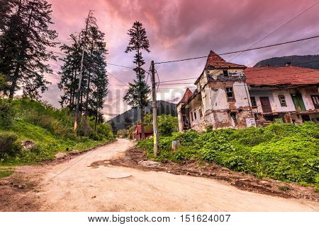 Old building ruins in small romanian village