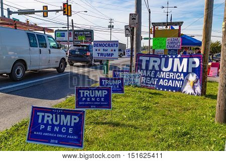 Ronks PA USA - October 11 2016: Trump campaign signs offered for sale by a vendor along busy Route 30 in Lancaster County.