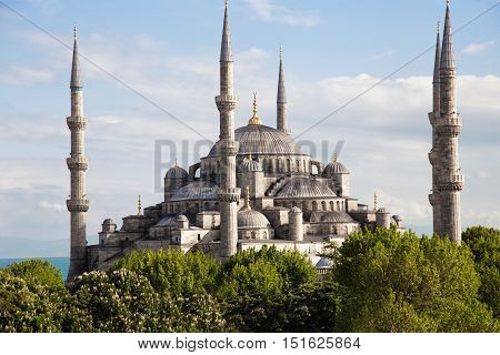 The Blue Mosque Istanbul, Turkey. Sultanahmet park. The biggest mosque in Istanbul of Sultan Ahmed (Ottoman Empire).