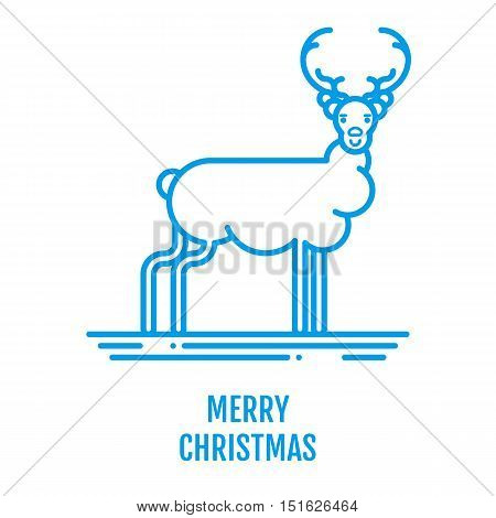 Merry Christmas icon concept with deer in outline style. New year design for banner web graphics wallpaper page background invitation greeting card flyer poster template. Vector Illustration.