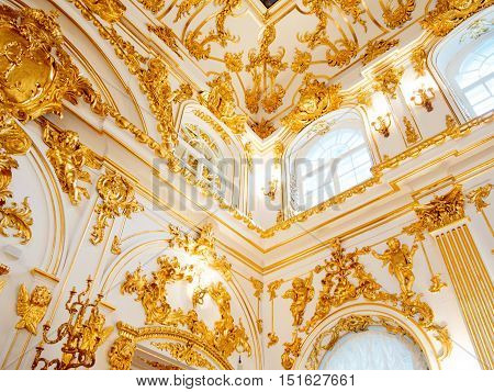 SAINT PETERSBURG, RUSSIA - July 12, 2016: Interior of the State Hermitage, Grand Church of the Winter Palace.