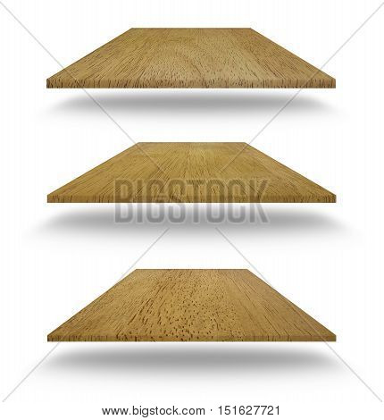 Set Of Empty Wooden Shelves Isolated On White Background