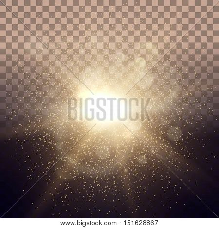 Solar Dawn glow lighting lights ray transparent background with pink lens effect. Easy to change the background. Vector illustration.