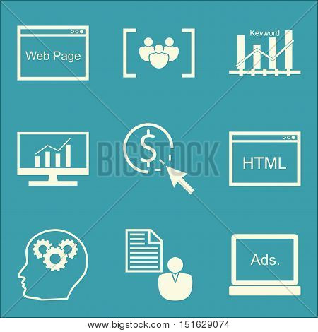Set Of Seo, Marketing And Advertising Icons On Web Page, Keyword Ranking, Client Brief And More. Pre