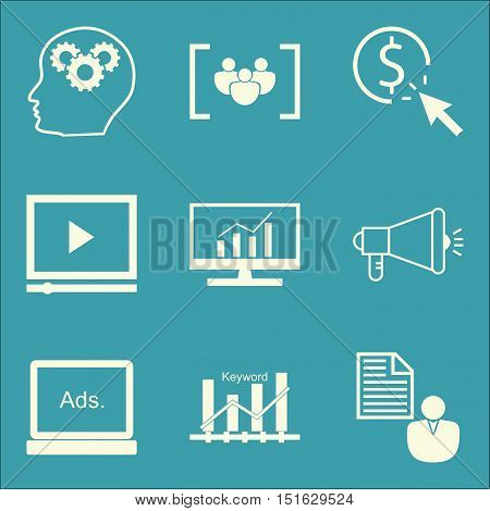 Set Of Seo, Marketing And Advertising Icons On Focus Group, Client Brief, Viral Marketing And More.