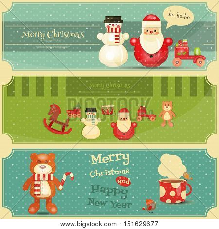 Merry Christmas and Happy New Year Posters Set in Retro Style. Vintage Toys Collection - Wooden Santa Claus Snowman Train Bear and Drum. Horizontal Format. Vector Illustration.