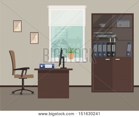Workplace of office worker. Vector flat illustration. There is an office furniture in brown color: a table, case for documents, a chair and other objects in the picture