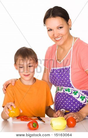 Nice Mom And Son Prepares