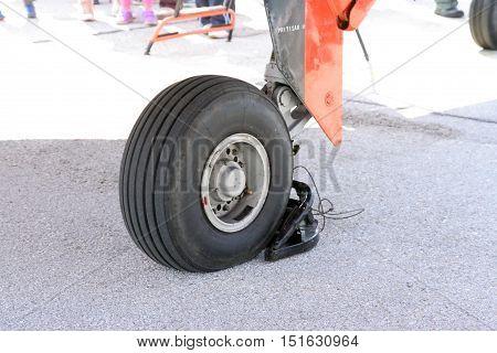 Military airplane wheel. Aircraft wheel. Plane wheel.