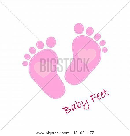 Pink baby footprints with heart in the center. Baby footprints as a symbol of pregnancy or childbirth. Vector illustration.