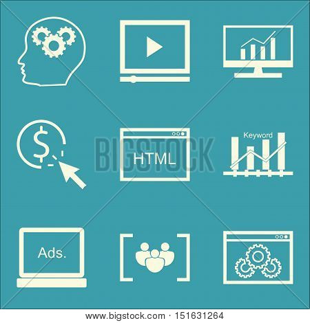 Set Of Seo, Marketing And Advertising Icons On Pay Per Click, Html Code, Video Advertising And More.