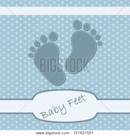Pink children's footprints. Baby footprints as a symbol of pregnancy or childbirth. Cute background on birthday of boy. Vector illustration.