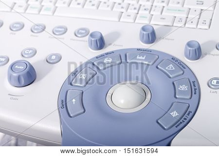 a medical equipment background, close-up ultrasound machine