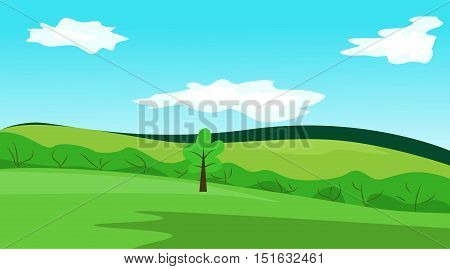 Simple vector landscape. Blue sky green meadows and tree