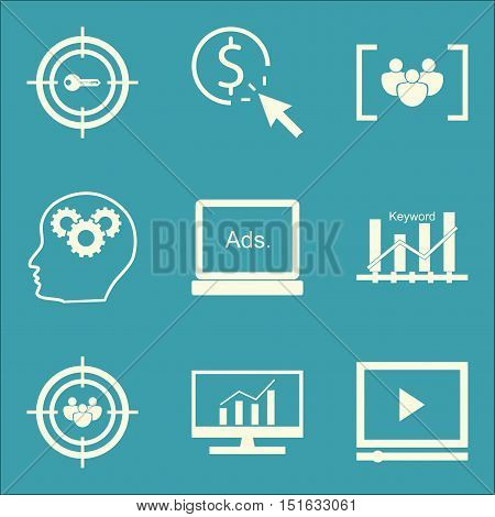 Set Of Seo, Marketing And Advertising Icons On Audience Targeting, Video Advertising, Display Advert