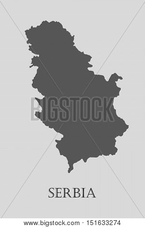 Gray Serbia map on light grey background. Gray Serbia map - vector illustration.