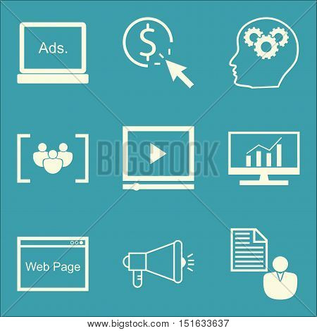 Set Of Seo, Marketing And Advertising Icons On Client Brief, Web Page, Video Advertising And More. P