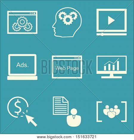 Set Of Seo, Marketing And Advertising Icons On Client Brief, Video Advertising, Creativity And More.