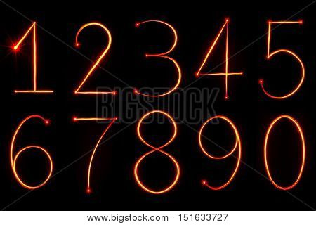 red light painting numbers from zero to nine