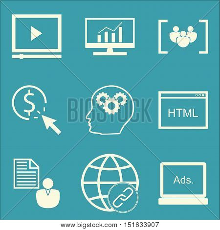 Set Of Seo, Marketing And Advertising Icons On Focus Group, Creativity, Html Code And More. Premium