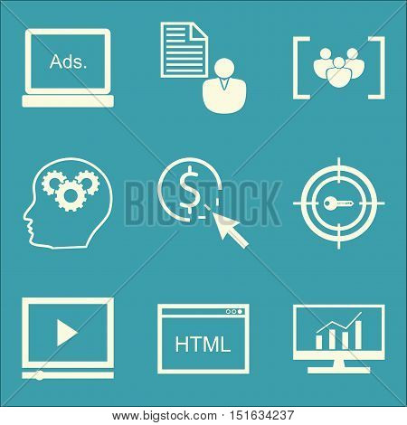 Set Of Seo, Marketing And Advertising Icons On Video Advertising, Focus Group, Client Brief And More
