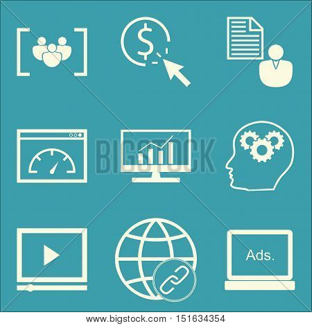 Set Of Seo, Marketing And Advertising Icons On Page Speed, Comprehensive Analytics, Creativity And M