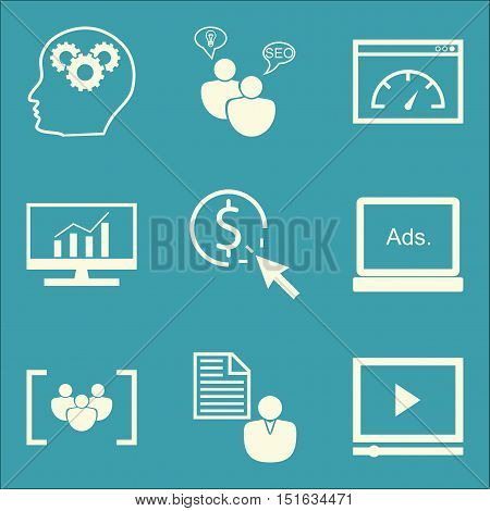 Set Of Seo, Marketing And Advertising Icons On Page Speed, Client Brief, Display Advertising And Mor
