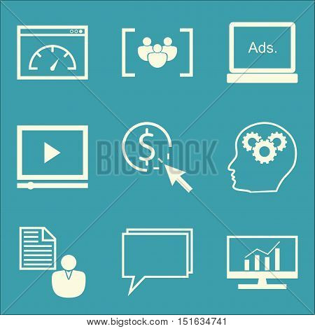 Set Of Seo, Marketing And Advertising Icons On Video Advertising, Online Consulting, Client Brief An