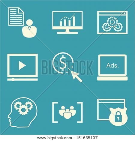 Set Of Seo, Marketing And Advertising Icons On Website Optimization, Client Brief, Creativity And Mo
