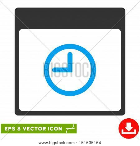 Time Calendar Page icon. Vector EPS illustration style is flat iconic bicolor symbol, blue and gray colors.