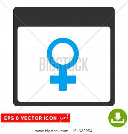 Venus Female Symbol Calendar Page icon. Vector EPS illustration style is flat iconic bicolor symbol, blue and gray colors.