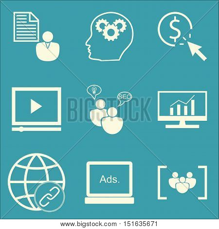Set Of Seo, Marketing And Advertising Icons On Link Building, Creativity, Client Brief And More. Pre