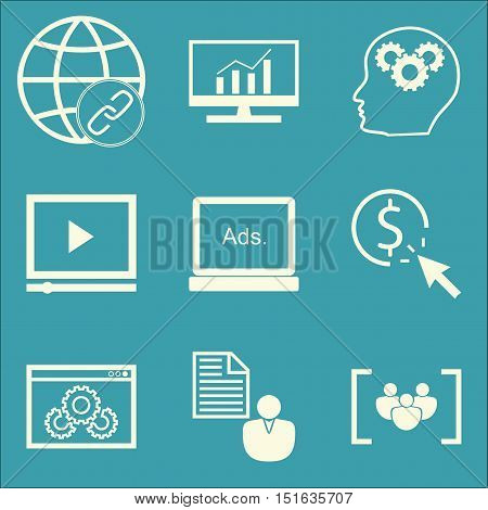 Set Of Seo, Marketing And Advertising Icons On Website Optimization, Link Building, Client Brief And