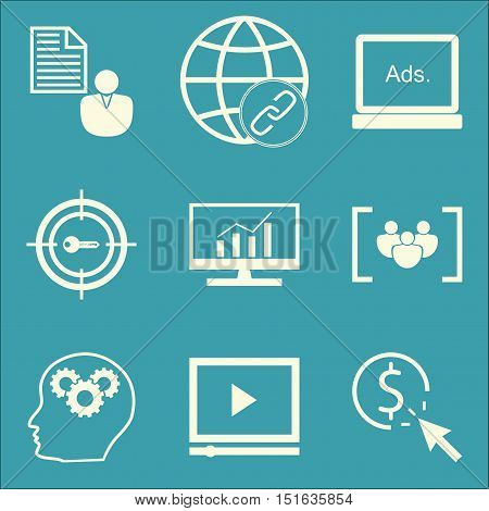 Set Of Seo, Marketing And Advertising Icons On Video Advertising, Pay Per Click, Client Brief And Mo